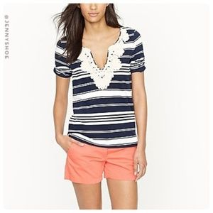 {j. crew} rope necklace elbow sleeve top